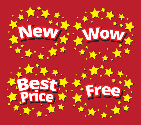starbursts: Starbursts set sale banner promotion set new, wow, best price, free surround with star