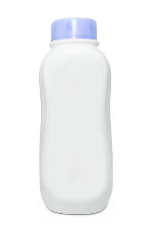 クリッピング パスと白い背景のタルカム パウダーのペットボトル