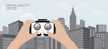 virtual technology: Man hand hold Virtual reality glasses. VR technology.urban scene  technology trend vector illustration Illustration