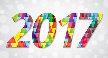 newyear card: Abstract polygonal background with text and 2017 greeting NewYear card design