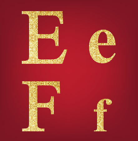 spangles: E F alphabet set  made up of gold spangles on the red background Illustration