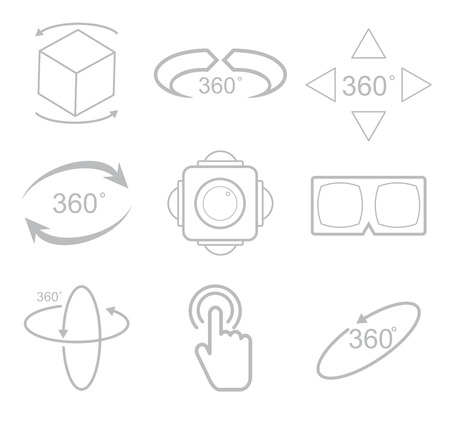 degrees: 360 Degrees View Vector Icon on white background Illustration