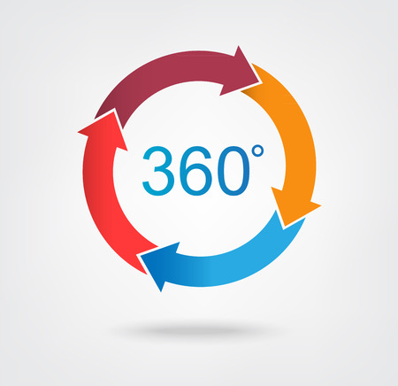 icono gráfico de la rueda flecha de 4 partes para el diseño de infografía