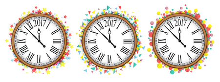 vintage clock: Confetti with text 2017 and vintage clock NewYear greeting design