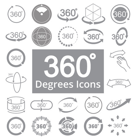 360 Degree View Related Vector Icons for Your Design. Illustration