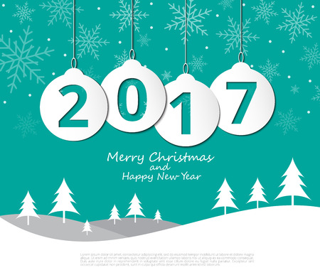 2017 Christmas balls on Merry Christmas and Happy New Year background