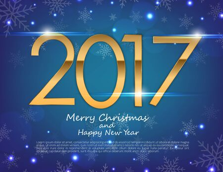 Happy New Year 2017 text design. Vector greeting illustration with golden numbers and snowflake background
