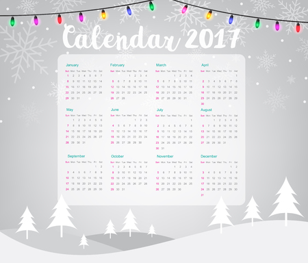 2017 Calendar on Merry Christmas and Happy New Year background