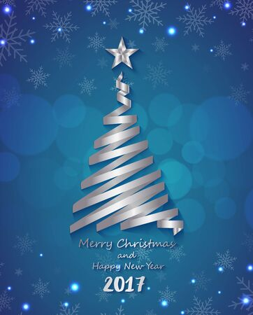 Silver ribbon make Christmas tree shape on blue  background for greeting card