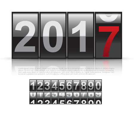Concept of The New Year 2017.Close Up of The Digits of A Mechanical Counter Illustration