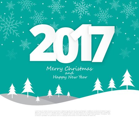 Text 2017 Christmas paper style on Merry Christmas and Happy New Year background,Illustration eps10 Illustration