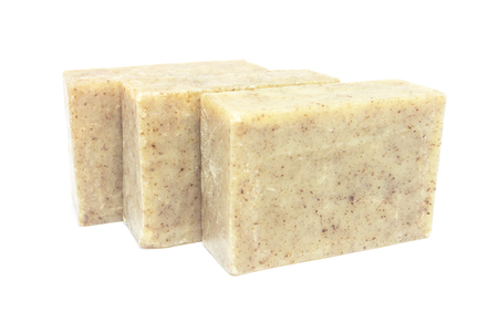 homemade soap bar on white background