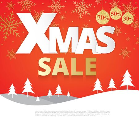 Xmas papar text style  for sale promotion label on christmas background,Illustration eps10 Illustration