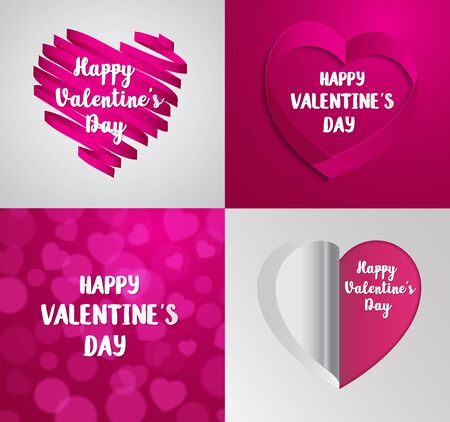 set of Valentines  Day greeting card. Vector Festive Holiday Illustration