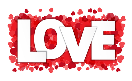 Love paper style on  red heart confetti background, Vector paper illustration.