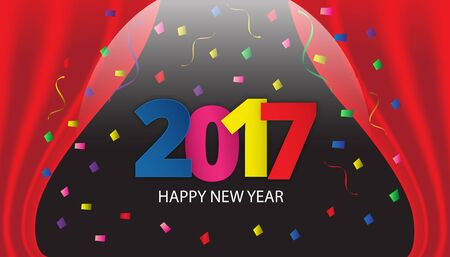 Happy New Year 2017 paper type on background with ribbons and confetti. Greeting card template. Vector illustration.