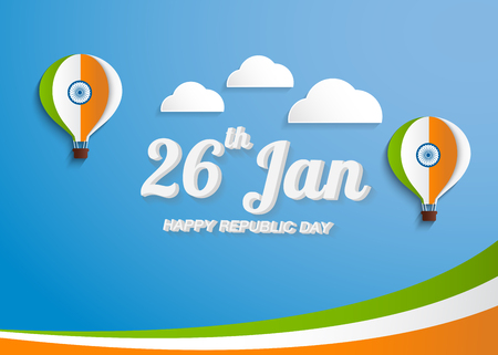 Greeting Card design with National color Text India on sky blue background for Happy Republic Day celebration