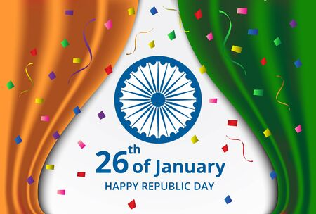Happy Indian Republic Day celebration on curtain color of india flag and confetti greeting card Illustration