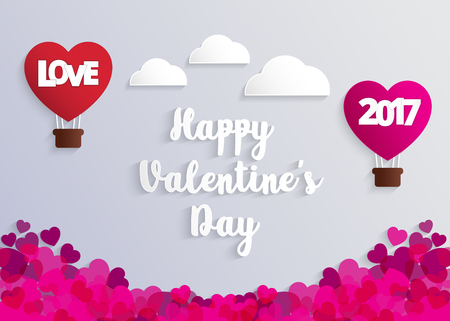 Concept of Valentine day, hot air balloon in a heart shape with Love message floating in the air, Paper art and craft style.