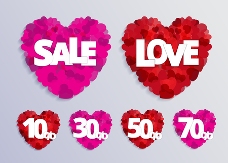 Valentine love card with red heart and sale discount text. Vector paper illustration. Illustration