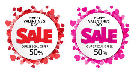 Valentine love label with red and pink heart and sale discount text. Vector paper illustration.