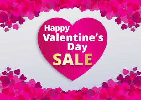 Valentine love card with pink heart footer and sale text . Vector paper illustration.