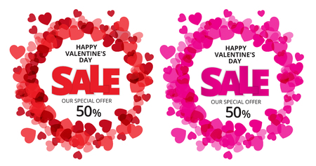 love declaration: Valentine love label with red and pink heart and sale discount text. Vector paper illustration.
