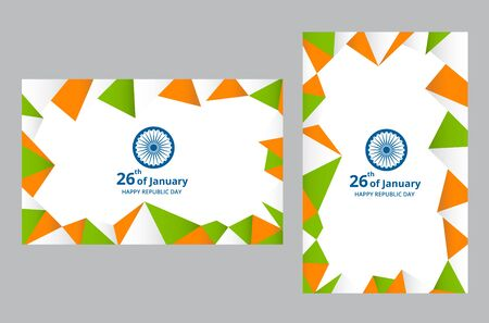 Happy Indian Republic Day celebration on flag color greeting card