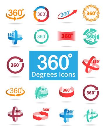 360 Degree View Related Vector Icons for Your Design. Ilustração