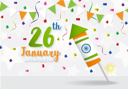 Happy Indian Republic Day celebration  firecracker flag color greeting background