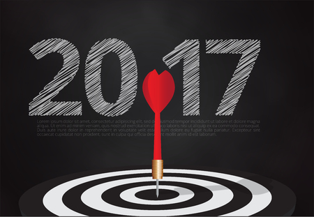 bulls eye hit the target on dartboard with number 2017 blackboard background,illustration EPS10. Illustration