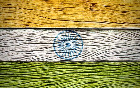 India flag  grunge wooden background retro effect image Stock Photo