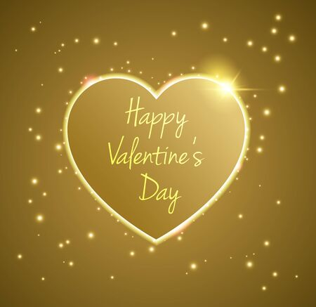 Gold Heart valentines day light vector background Illustration