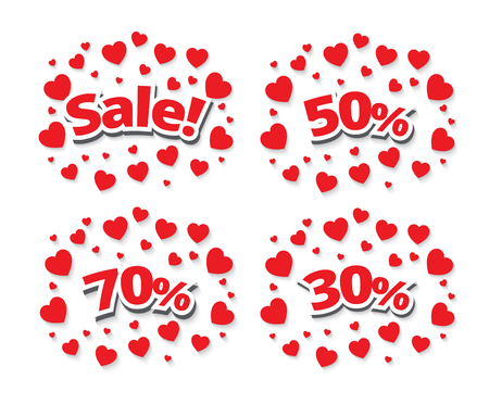 Sale sign over red hearts background. Vector holiday illustration.