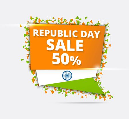 Indian Independence Day Sale, Tricolor Sale Paper Tag, Sale Paper Banner, Sale Poster, Sale  Sale Ribbon, 50% Off, Stylish Sale Background with Ashoka Wheel for 15th of August celebration.