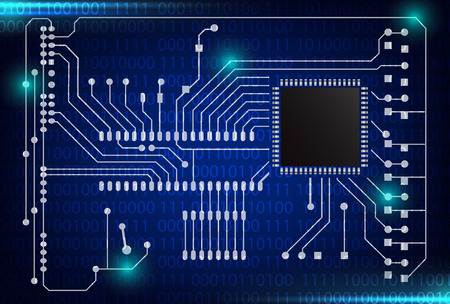 closeup of electronic circuit board with processor background,illustration EPS 10