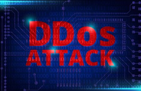 dos: DDOS on a Digital Binary Warning above electronic circuit board with processor background
