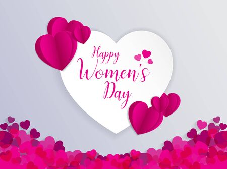 8 March International Women Day Greeting Card With Heart Shape Vector Illustration Illustration