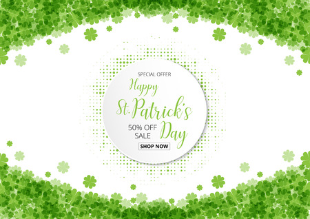 special offer sale text  badge with green  clover leaves footer background, St. Patricks Day concept Illustration