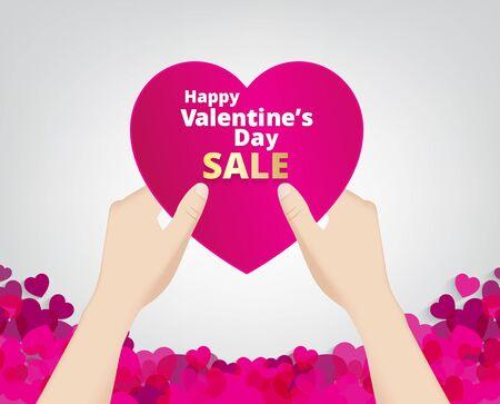 Hand halten Sie die rosa Herz-Label auf Herz Fußzeile Hintergrund und Verkauf Text. Vektor-Papier-Illustration.