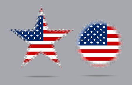 USA-Flagge Stern-Halbton-Effekt-Stil auf dem grauen Hintergrund