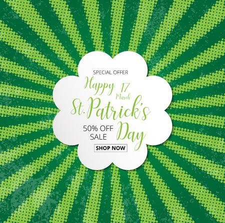 Spezialtext Abzeichen Angebot Verkauf mit grünen Kleeblättern Halbton-Effekt Hintergrund, St. Patrick Tag Konzept