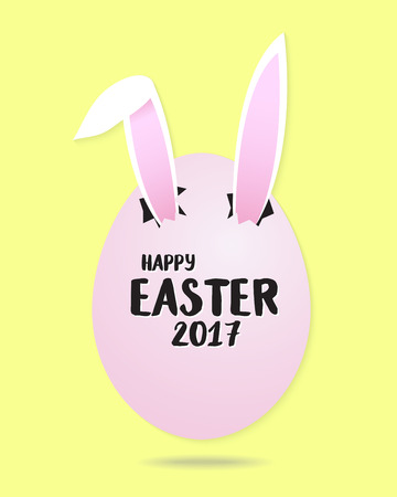 Funny easter greeting card rabbit ears in the egg in pastel tone background