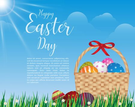 Happy Easter Tag Design Korb Ostereier auf grünem Gras am sonnigen Tag.