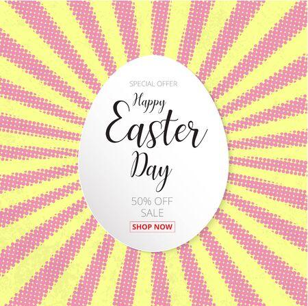Fröhliche Ostern Tag ei ??entwerfen Banner und glücklich Ostern Tag Text auf Halbton-Effekt Hintergrund
