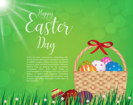 Fröhliche Ostern Tag Design Korb der Ostereier auf grünem Gras am sonnigen Tag, illustration EPS10. Illustration