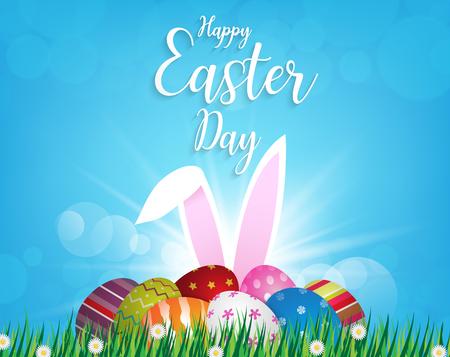 Fröhliche Ostern entwerfen Ostereier und Hasenohren auf grünem Gras am sonnigen Tag, illustration EPS10.