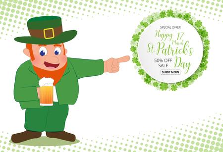 Leprechaun Hand weisen auf Spezialangebot Verkaufstext grünen Klee Blätter Hintergrund, St. Patrick Tag Konzept.