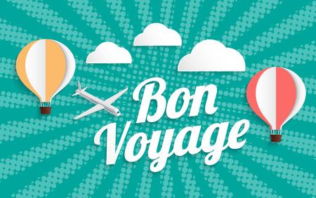 Heißluftballon bon voyage auf Halbton-Hintergrund, Vektor-Illustration EPS10
