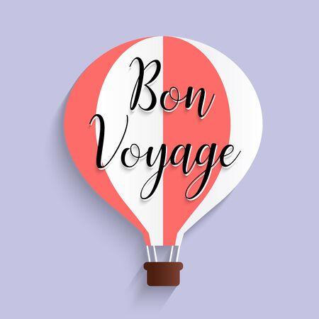 hot air balloon bon voyage calligraphy text flat design, vector illustration EPS10
